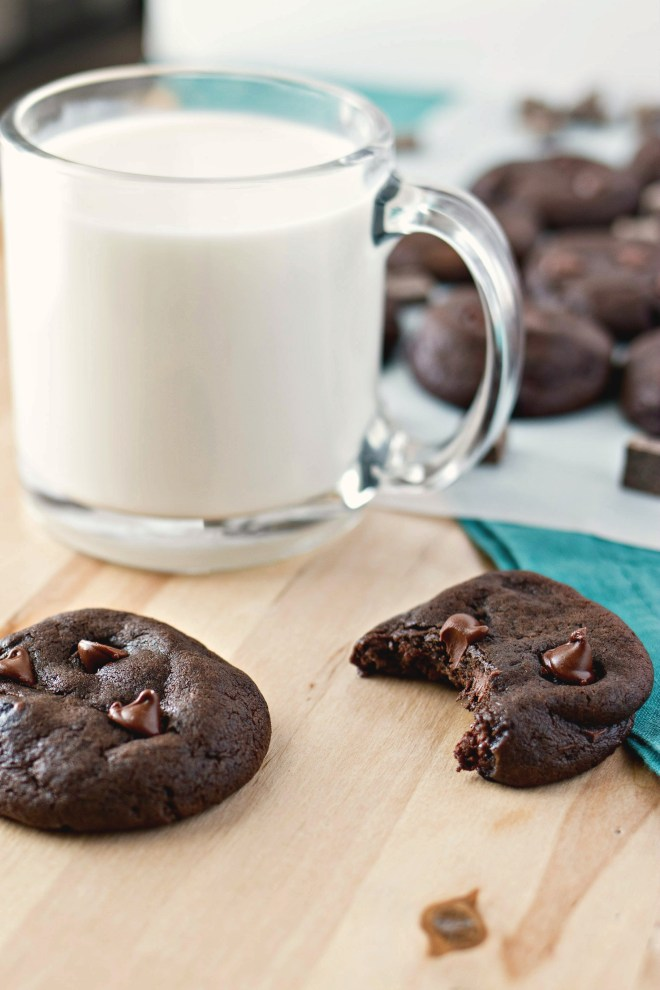 Triple Chocolate Soft Baked Cookies - A decadent soft baked cookie made with three kinds of chocolate: cocoa powder, chocolate chunks, and chocolate chips.