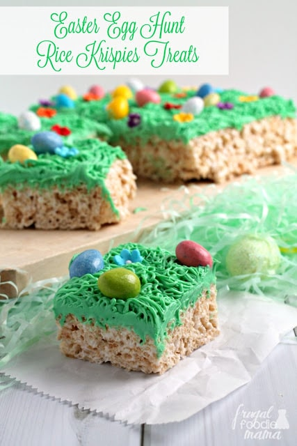 Rice Krispy treats with green frosting to look like grass and Easter eggs