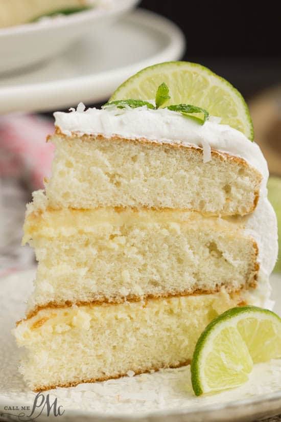 Lime & Coconut Icebox Cake with Fresh Whipped Cream with a slice of lime