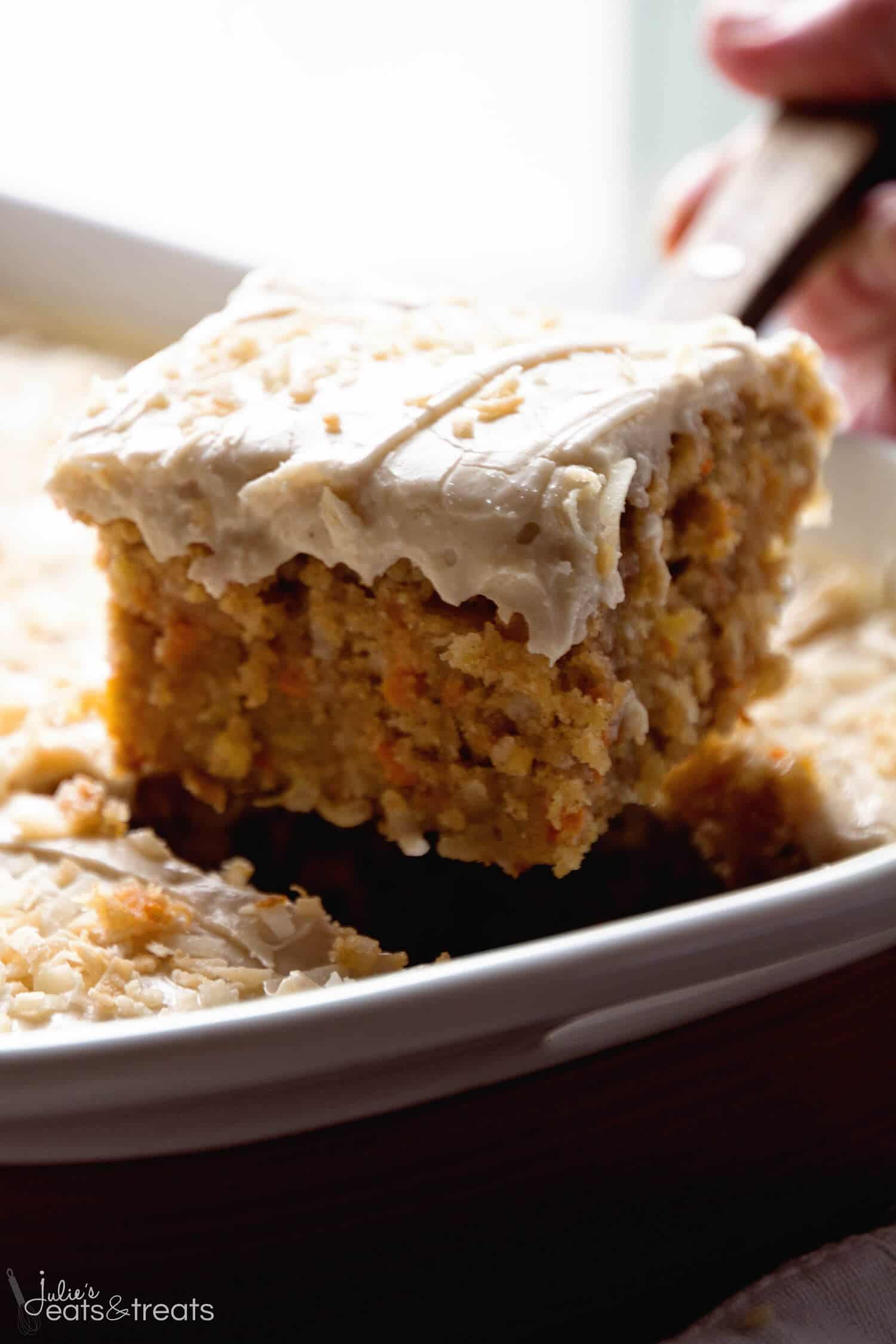 Piece of cinnamon carrot poke cake