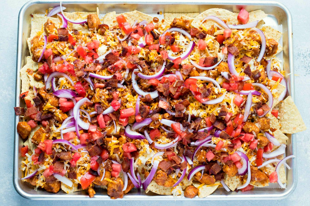 Uncooked sheet of BBQ Chicken Nachos
