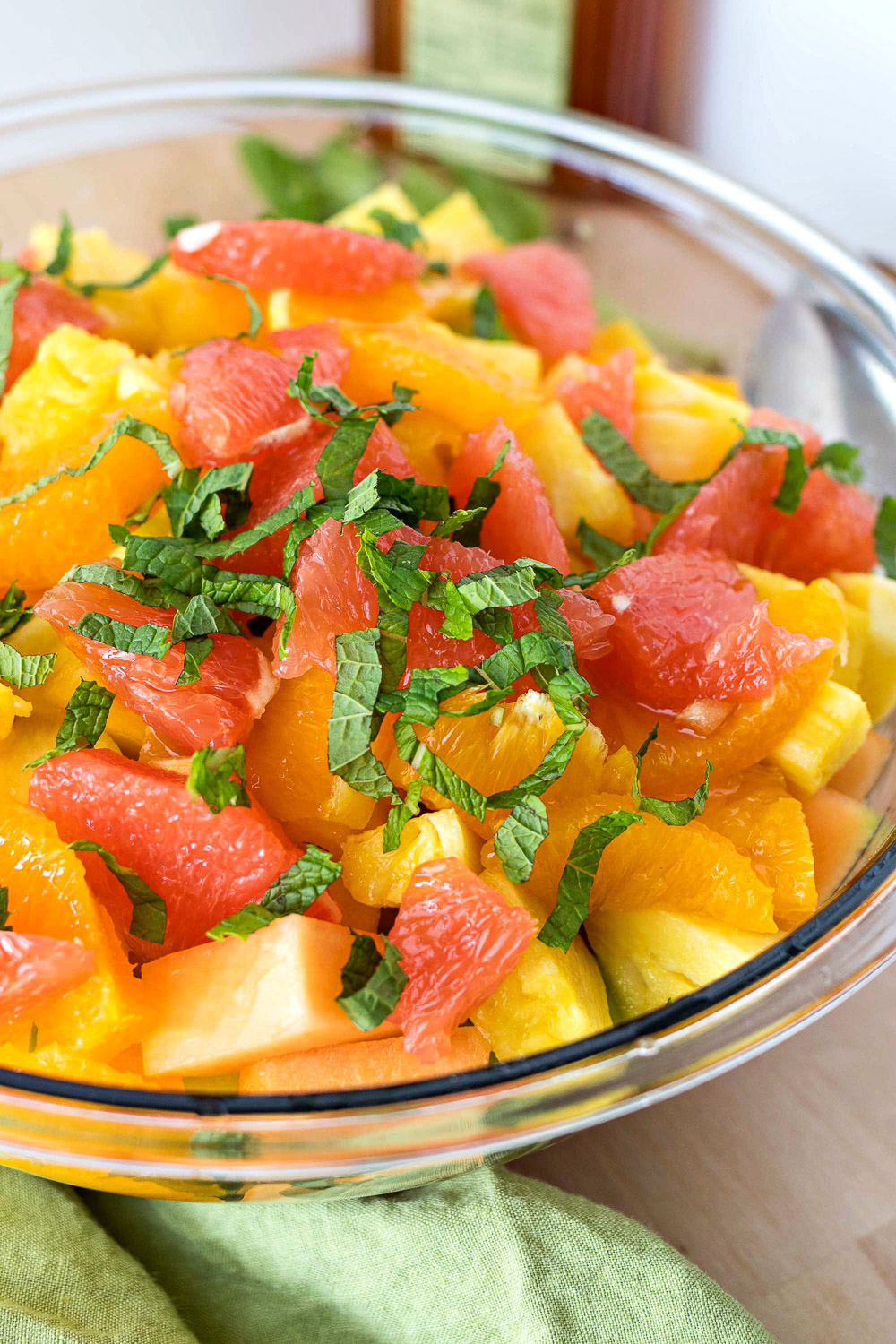 Watermelon and pineapple with garnish