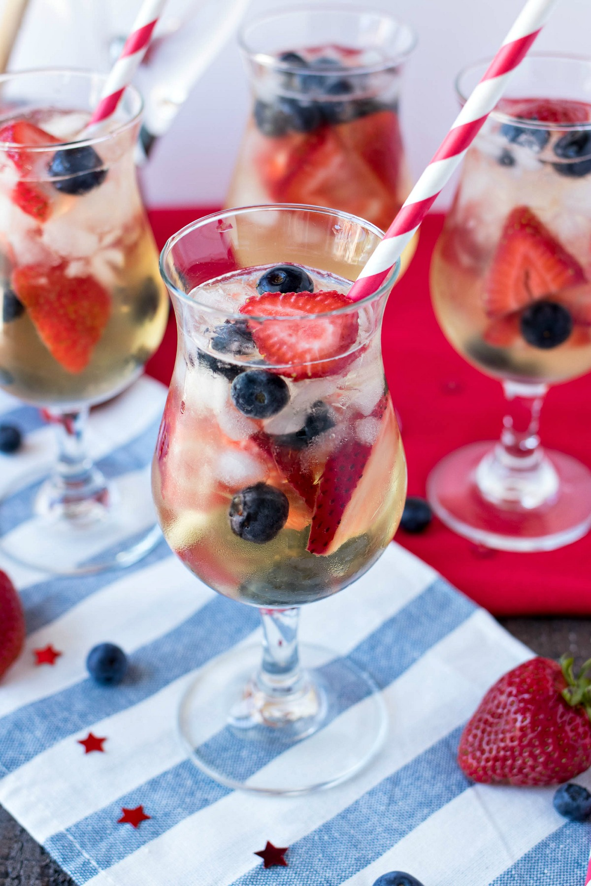 Glasses of Red, White, & Blue Sangria