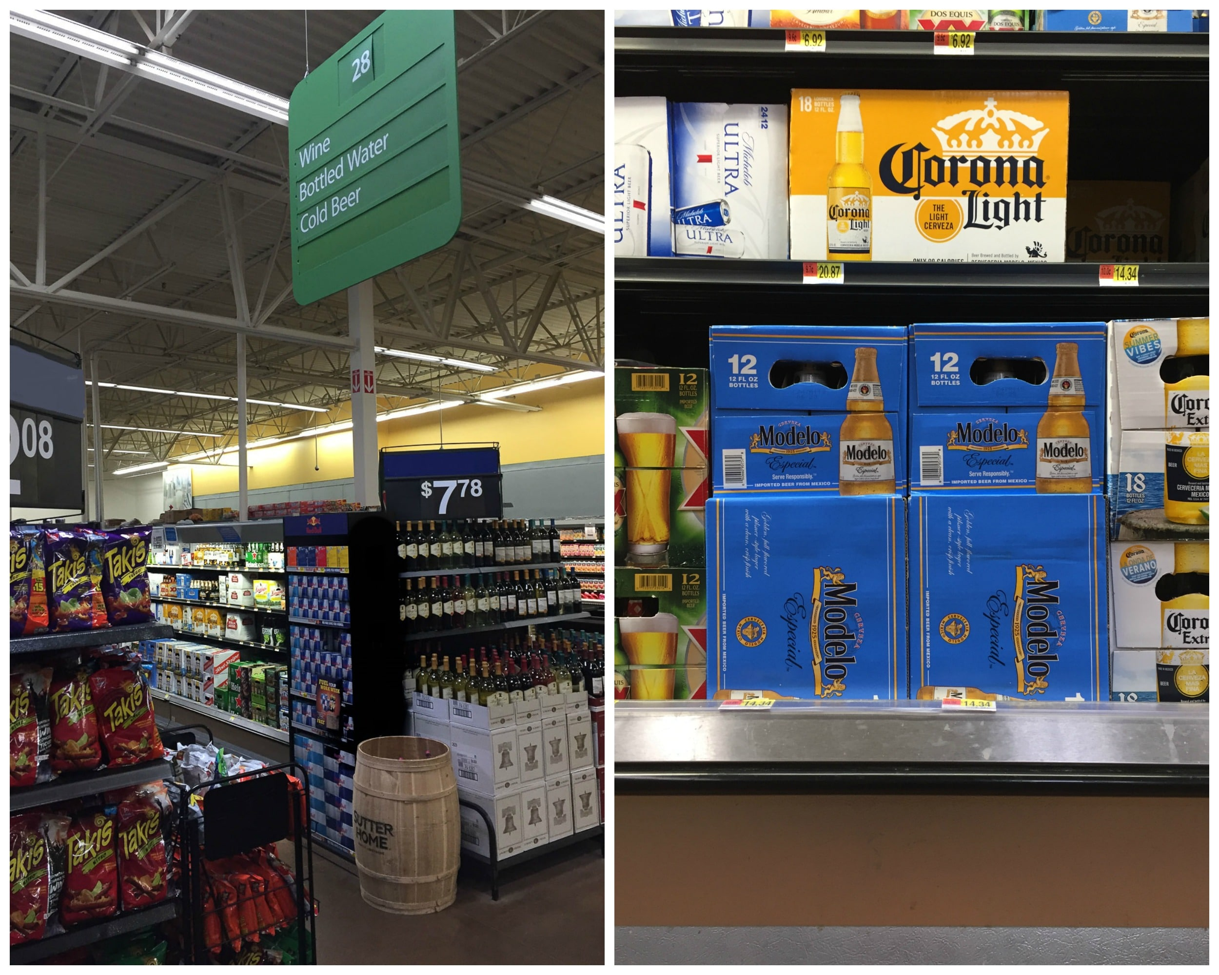 Beer aisle with cases of Modelo