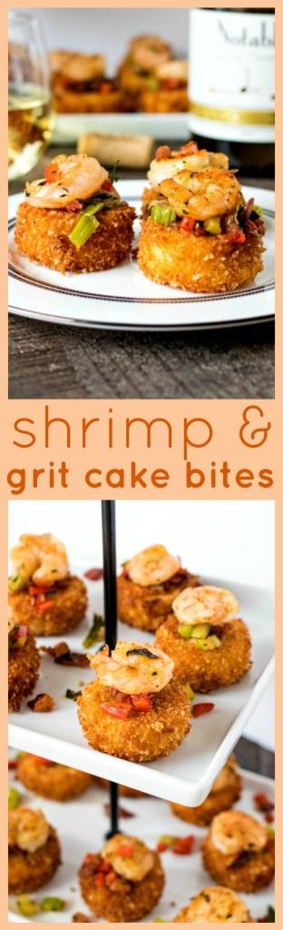 Shrimp & Cheesy Grit Cake Bites photo collage