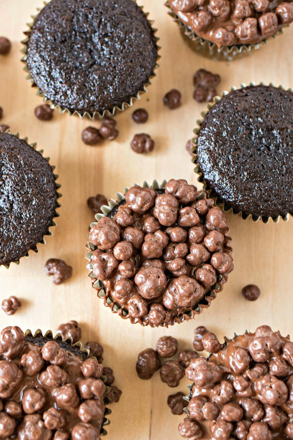 Top view of Nutella Crunch Cupcakes