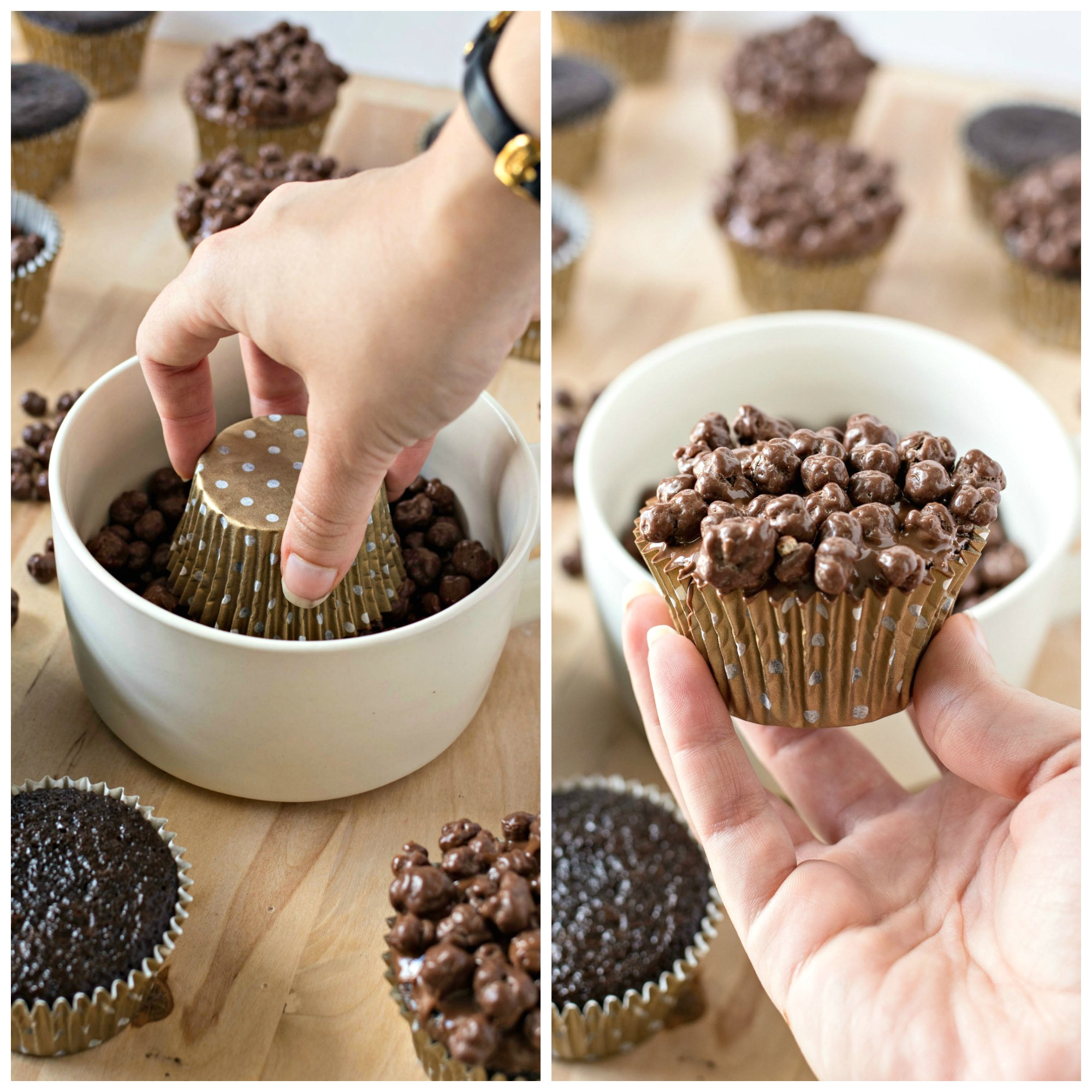 Dipping the cupcake into a bowl of buncha crunch
