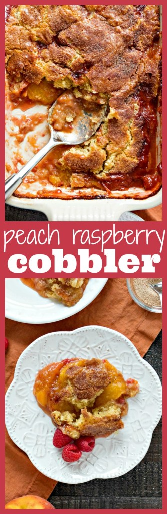 Peach Raspberry Cobbler photo collage