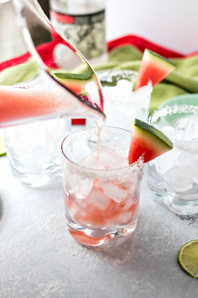 Watermelon Margaritas - A refreshing margarita that is made with fresh watermelon juice, triple sec, fresh lime juice, and silver tequila. The perfect drink for summer parties and barbecues!