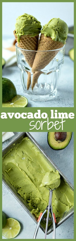 Avocado Lime Sorbet - Made with only three ingredients, this avocado lime sorbet is shockingly refreshing and unbelievably creamy. It's going to be your new favorite summer treat!