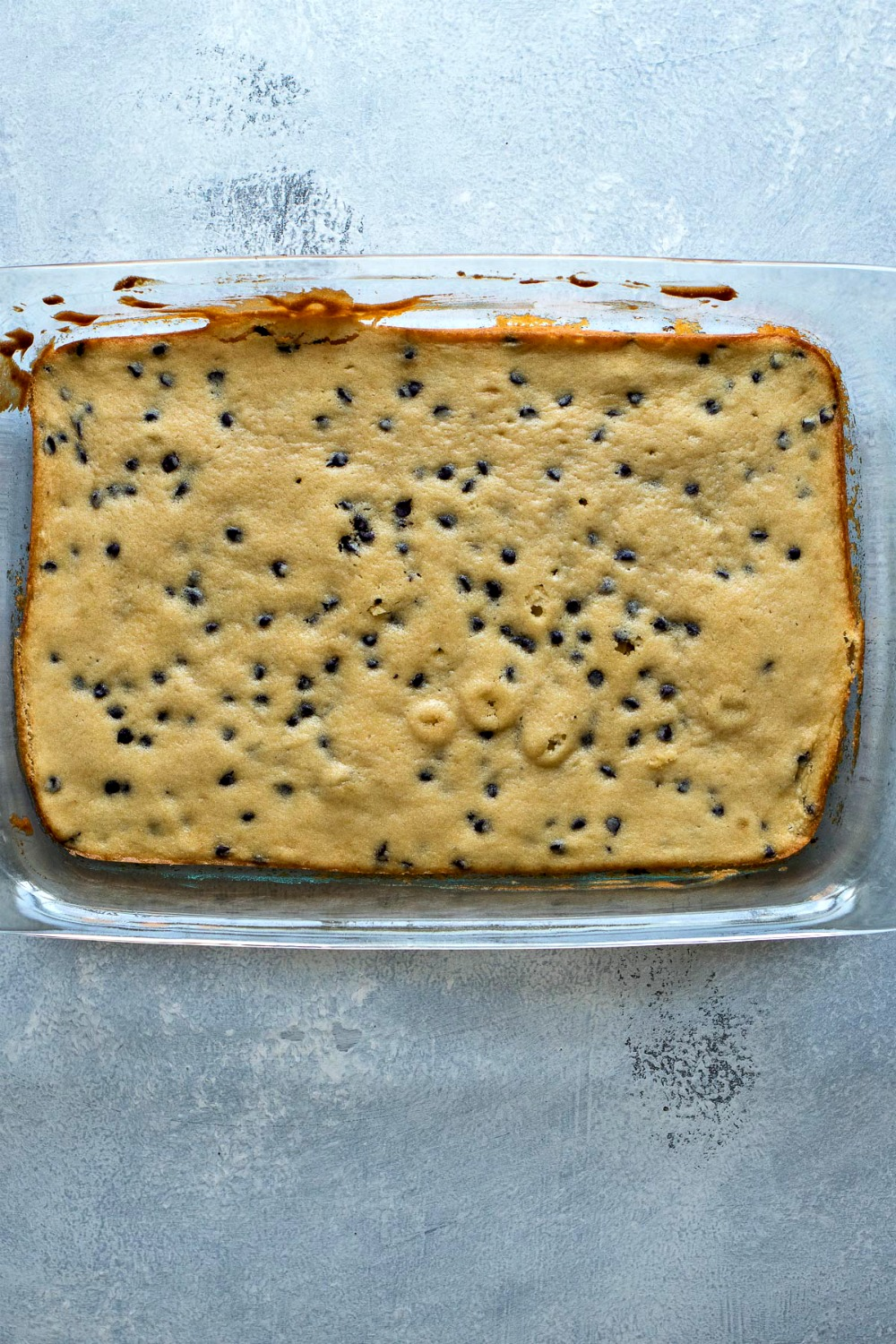 Pan of chocolate chip cookie dough