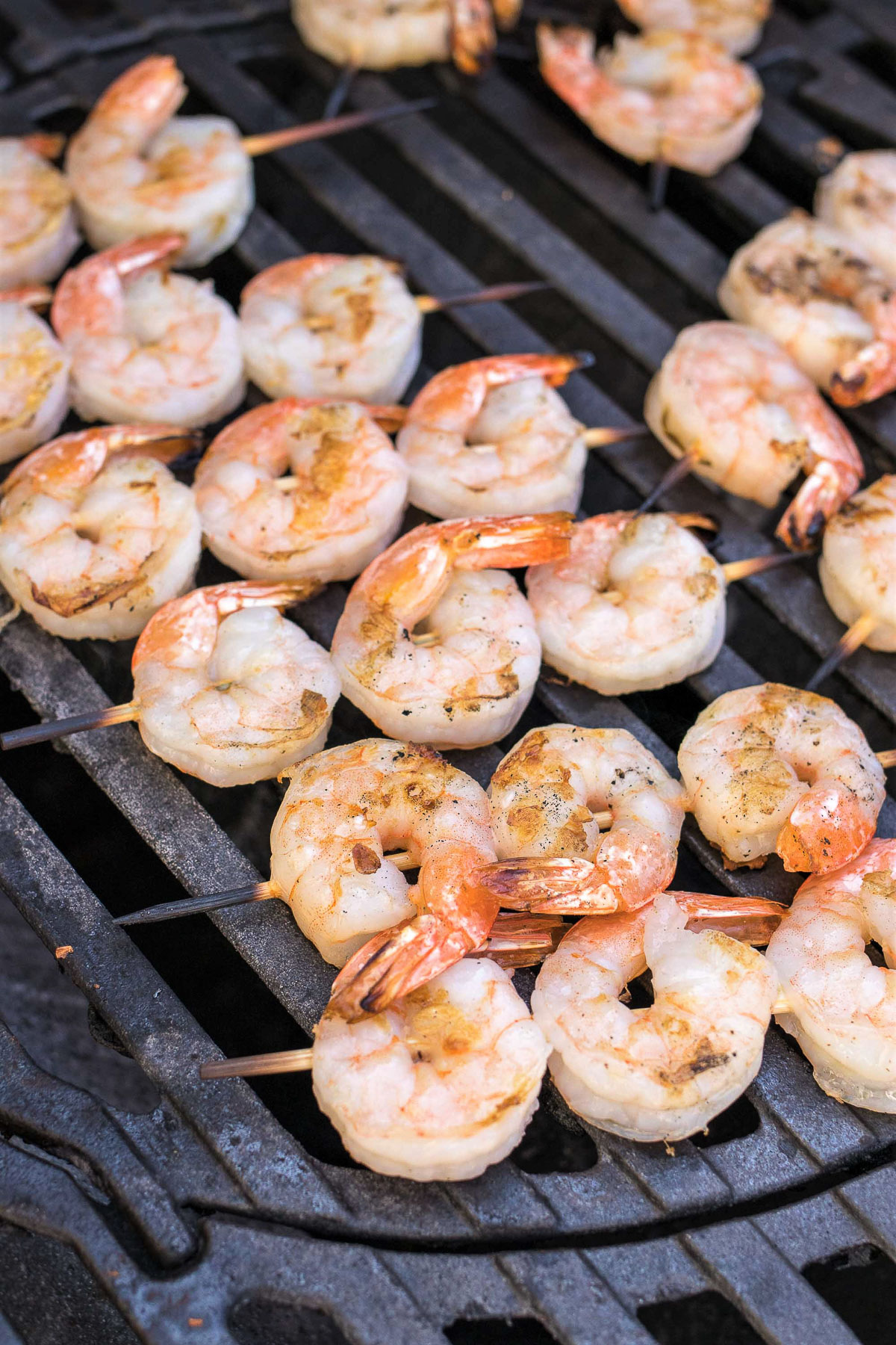 Grilled Bang Bang Shrimp Skewers cooking on the grill