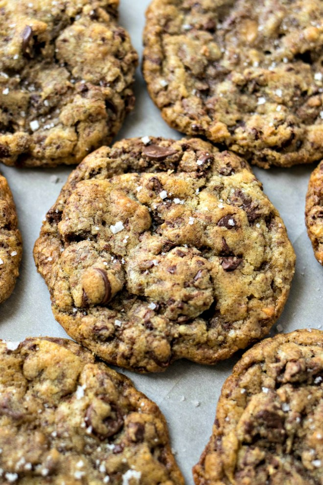 Sea Salt Toffee Chocolate Chip Cookies - Chewy chocolate chip cookies are given a gourmet makeover with the addition of toffee bits and a sprinkle of sea salt