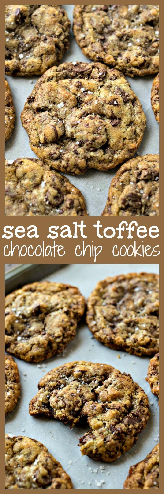 Sea Salt Toffee Chocolate Chip Cookies photo collage