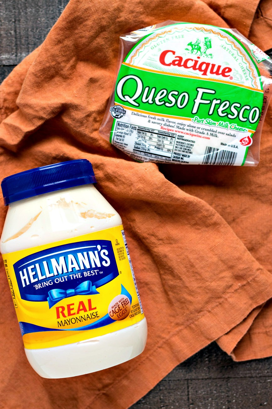 Jar of hellmans mayonnaise and package of queso fresco