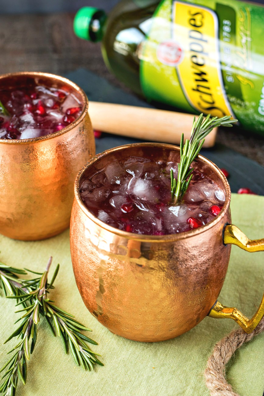 Pomegranate Rosemary Moscow Mule in a copper mug