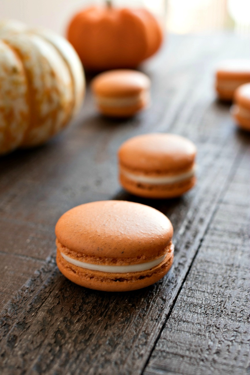 Two Pumpkin Cheesecake Macarons