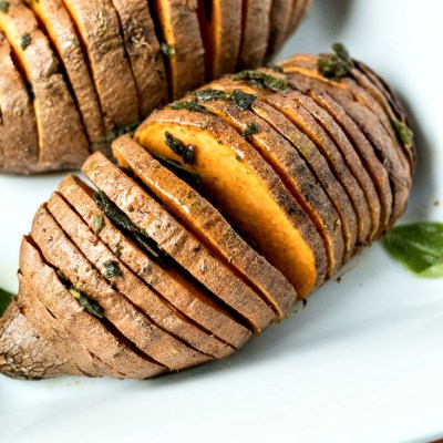Sage & Browned Butter Hasselback Sweet Potatoes