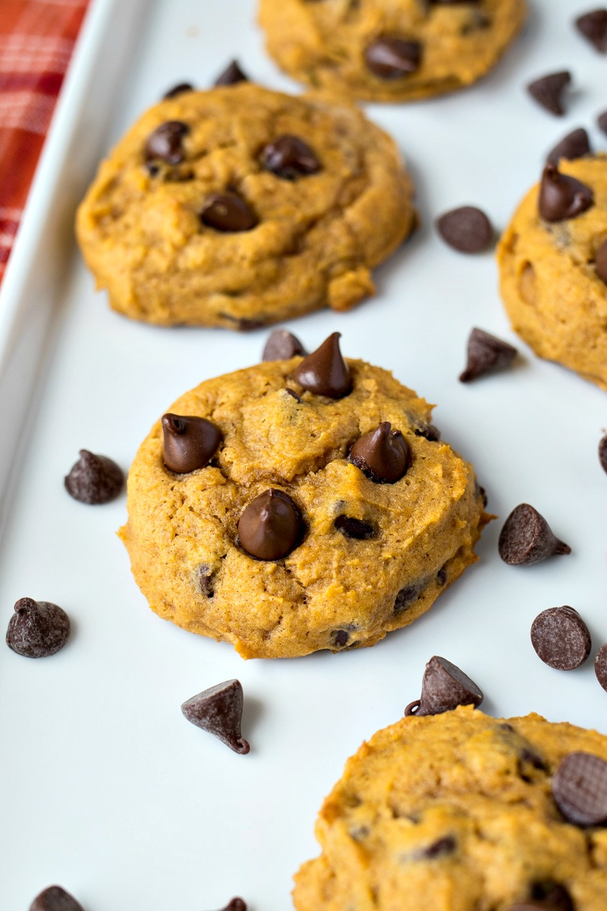 Pumpkin Chocolate Chip Cookies on a tray with scattered chocolate chips