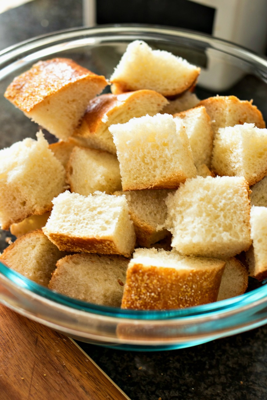 Bowl of french bread cubes