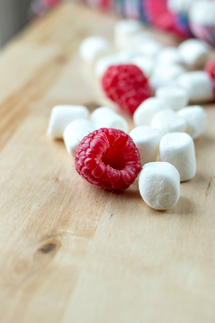 Raspberries and marshmallows