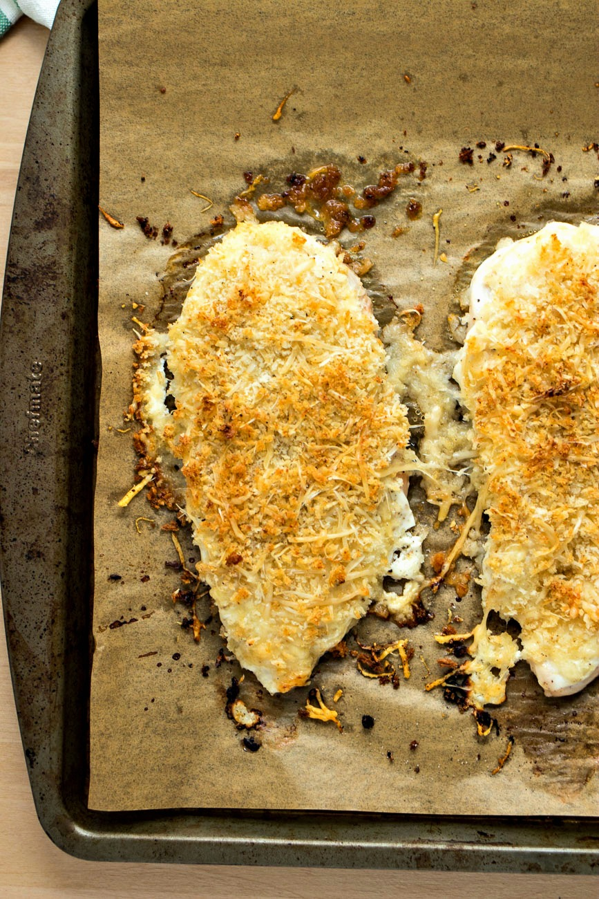 Healthy Parmesan Crusted Chicken - Chicken fillets covered in Parmesan cheese and seasoned panko bread crumbs and baked until perfectly crispy. No frying required!