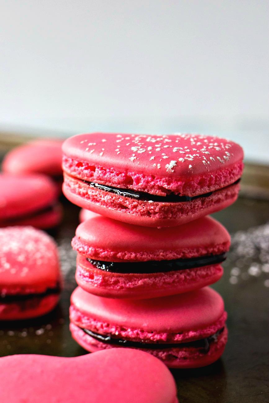 Stack of Raspberry Macaron Hearts