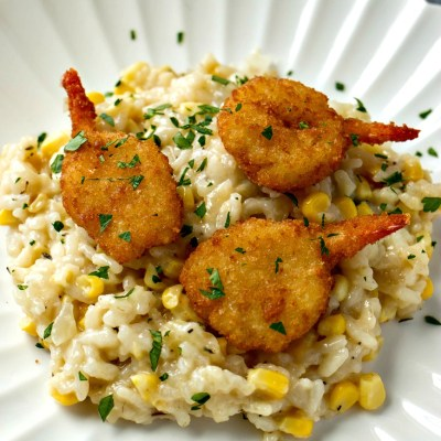 Sweet Corn Risotto with Crispy Shrimp (+ wine pairing)