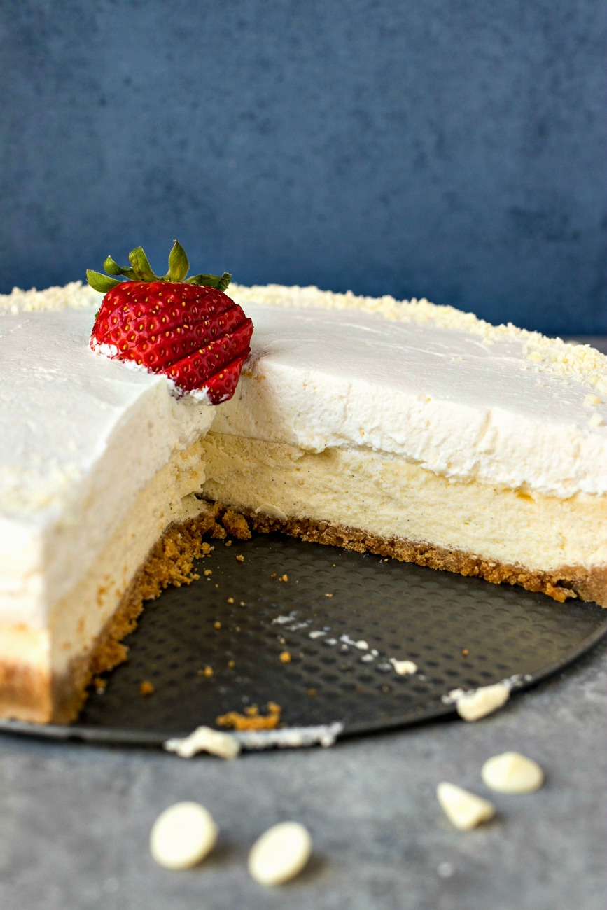 Vanilla Bean Cheesecake with slices missing