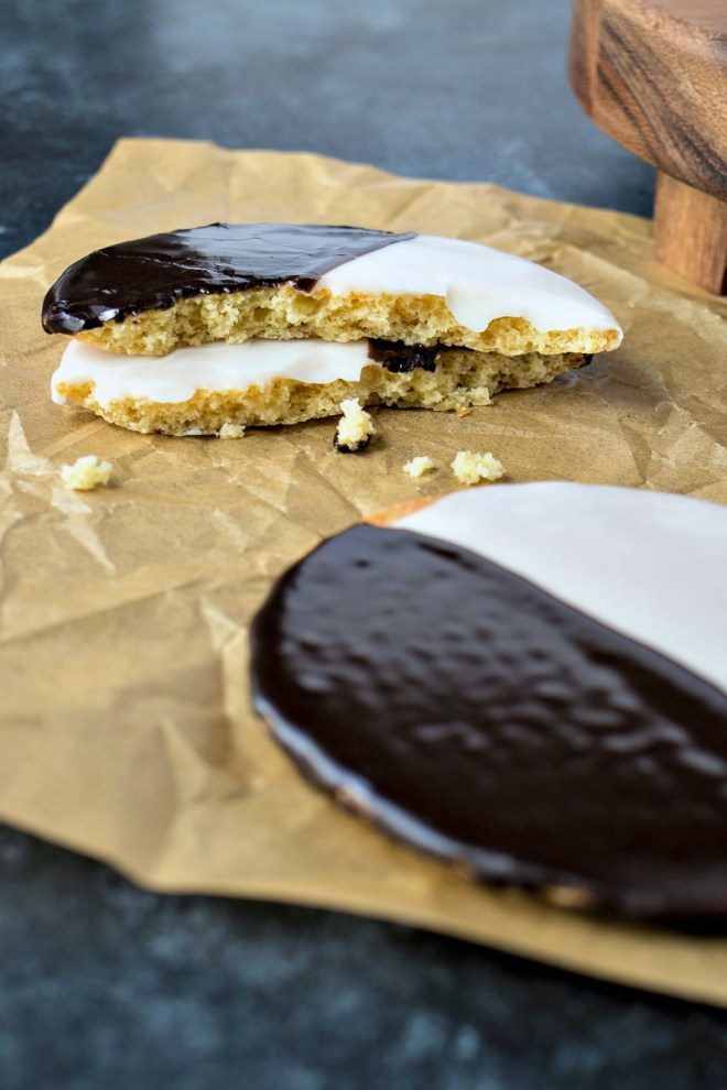Black & White Cookies - Soft, cakey vanilla cookies covered in vanilla and chocolate icing