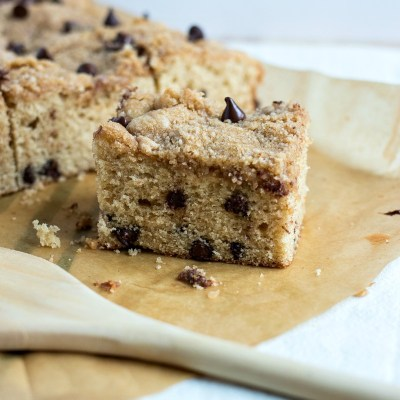 Chocolate Chip Coffee Cake - An incredibly moist, streusel coffee cake is loaded with semisweet chocolate chips and a hint of cinnamon to make for the best treat to enjoy with your morning or afternoon coffee.
