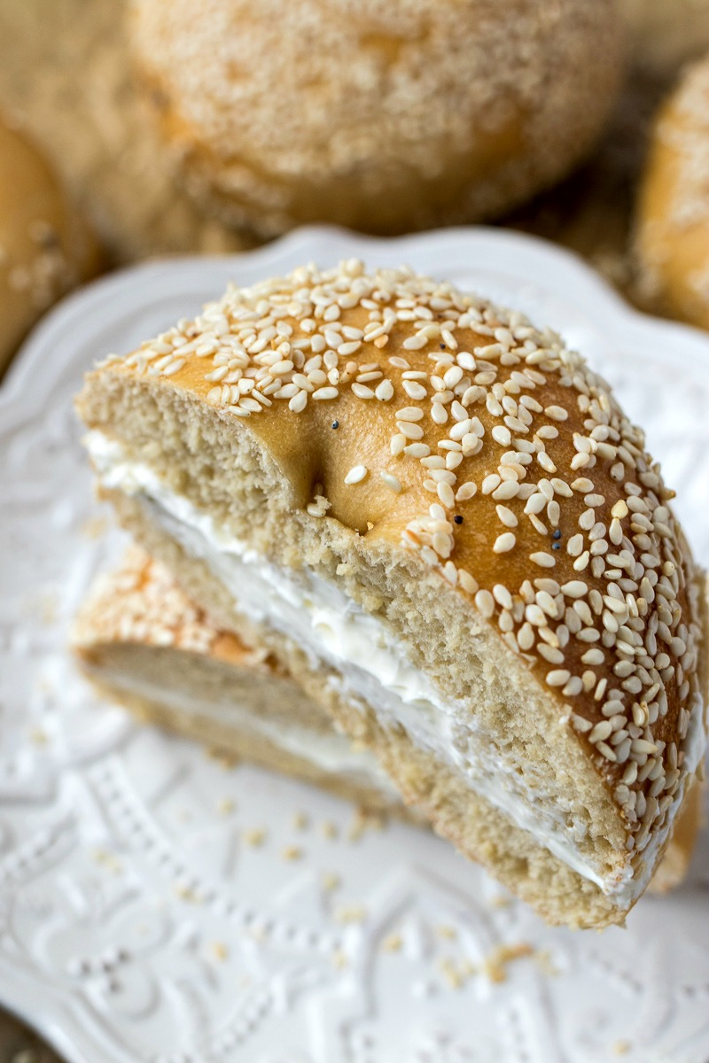 Stack of bagels with cream cheese