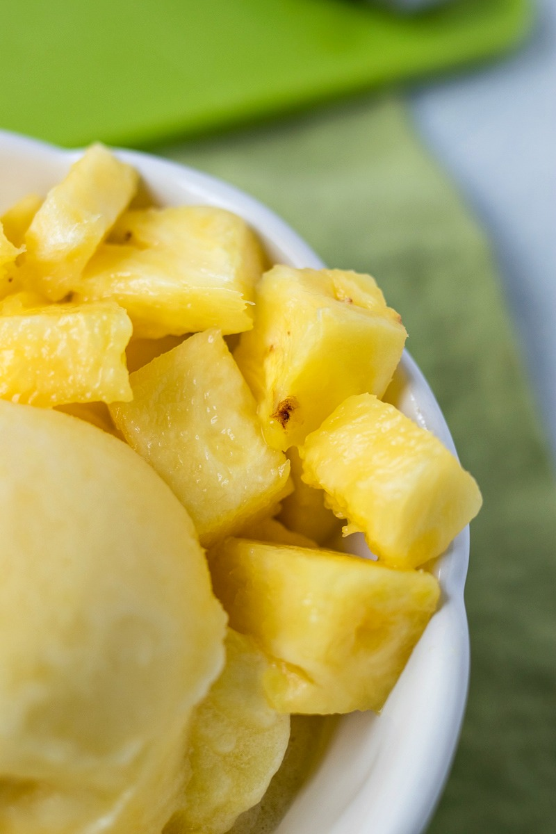 Closeup of pineapples next to the Pineapple Sorbet