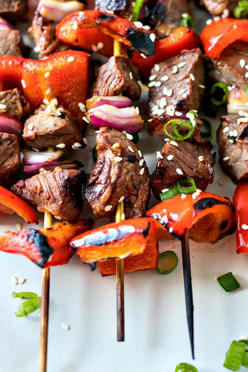 Closeup of Asian Steak Skewers