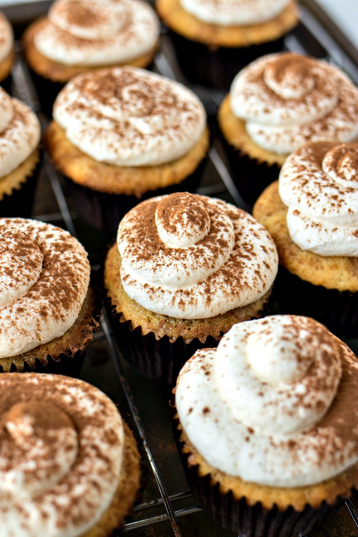 Tiramisu Cupcakes topped with marscapone cream and espresso powder