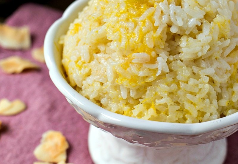 Mango Coconut Sticky Rice - Short-grain rice is cooked with coconut milk and fresh mango to give this side dish a tropical feel!