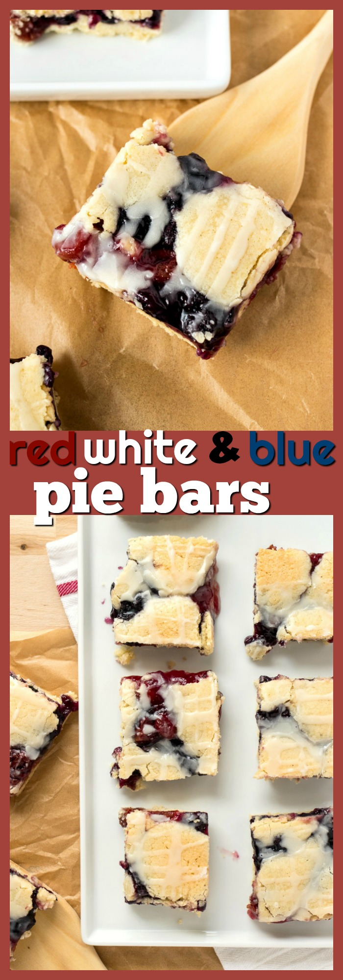 Red, White, and Blue Pie Bars photo collage