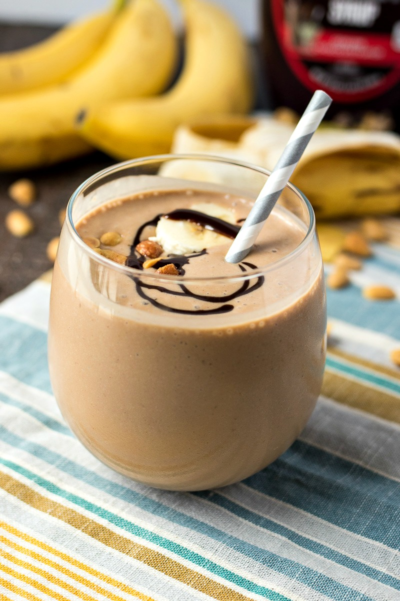 Glass of Chocolate Peanut Butter Banana Smoothie
