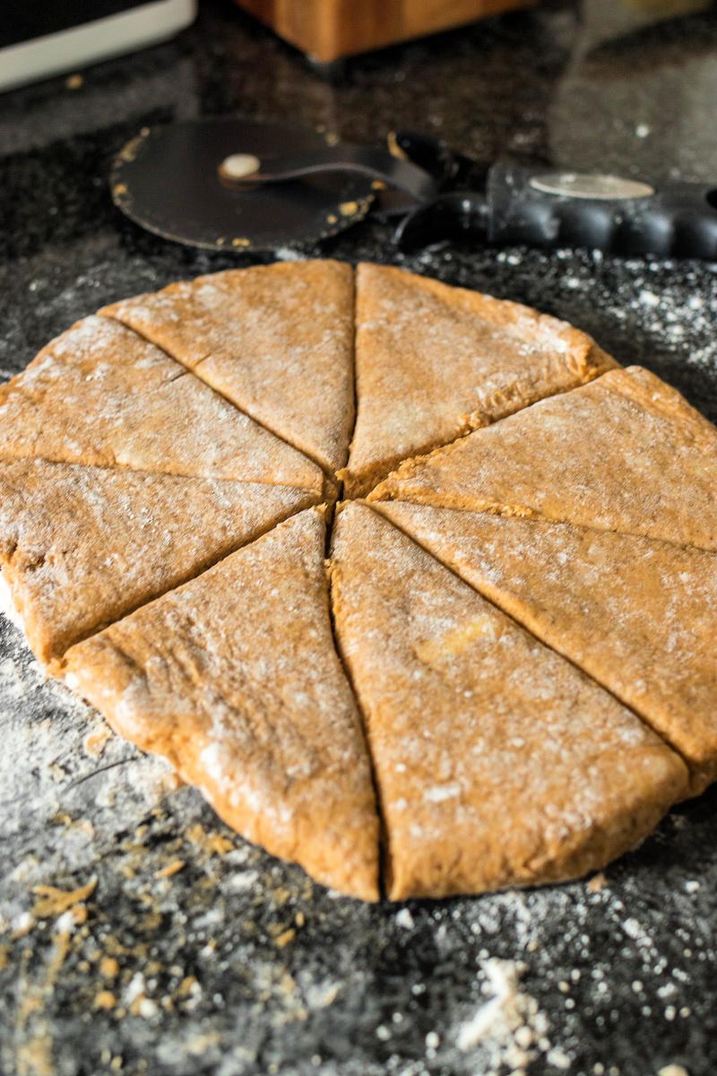 Iced Pumpkin Scone dough cut into triangles