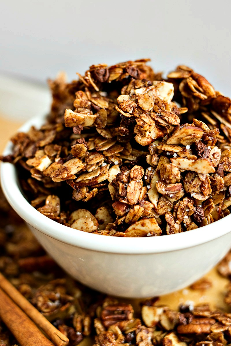 Chocolate Cinnamon Granola -Classic cinnamon granola is given a chocolatey makeover with the addition of cocoa powder and mini chocolate chips. You'll be shocked at how great the cinnamon and chocolate pairs together!