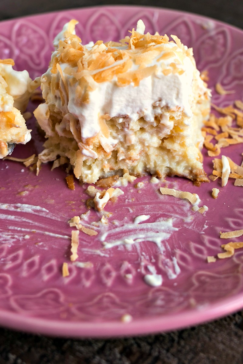 Half eaten piece of Coconut Tres Leches