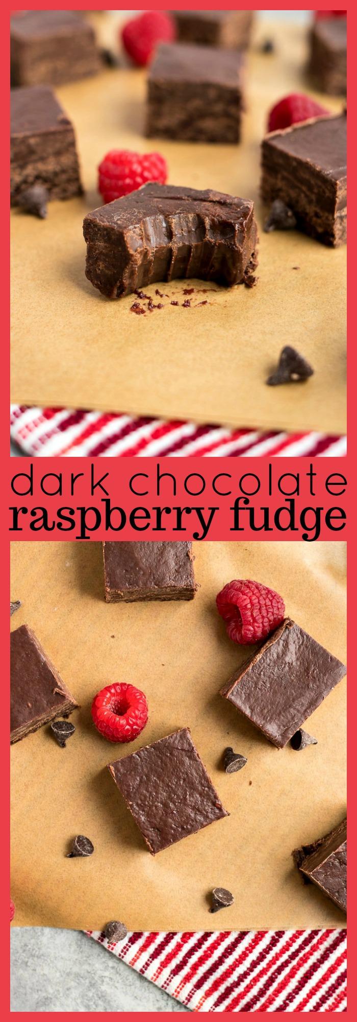 Dark Chocolate Raspberry Fudge photo collage