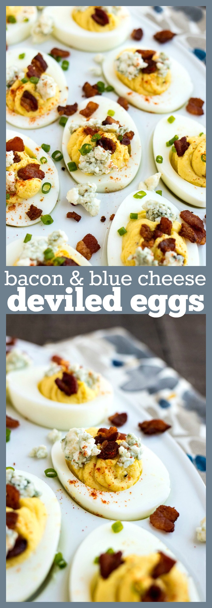 Bacon & Blue Cheese Deviled Eggs photo collage