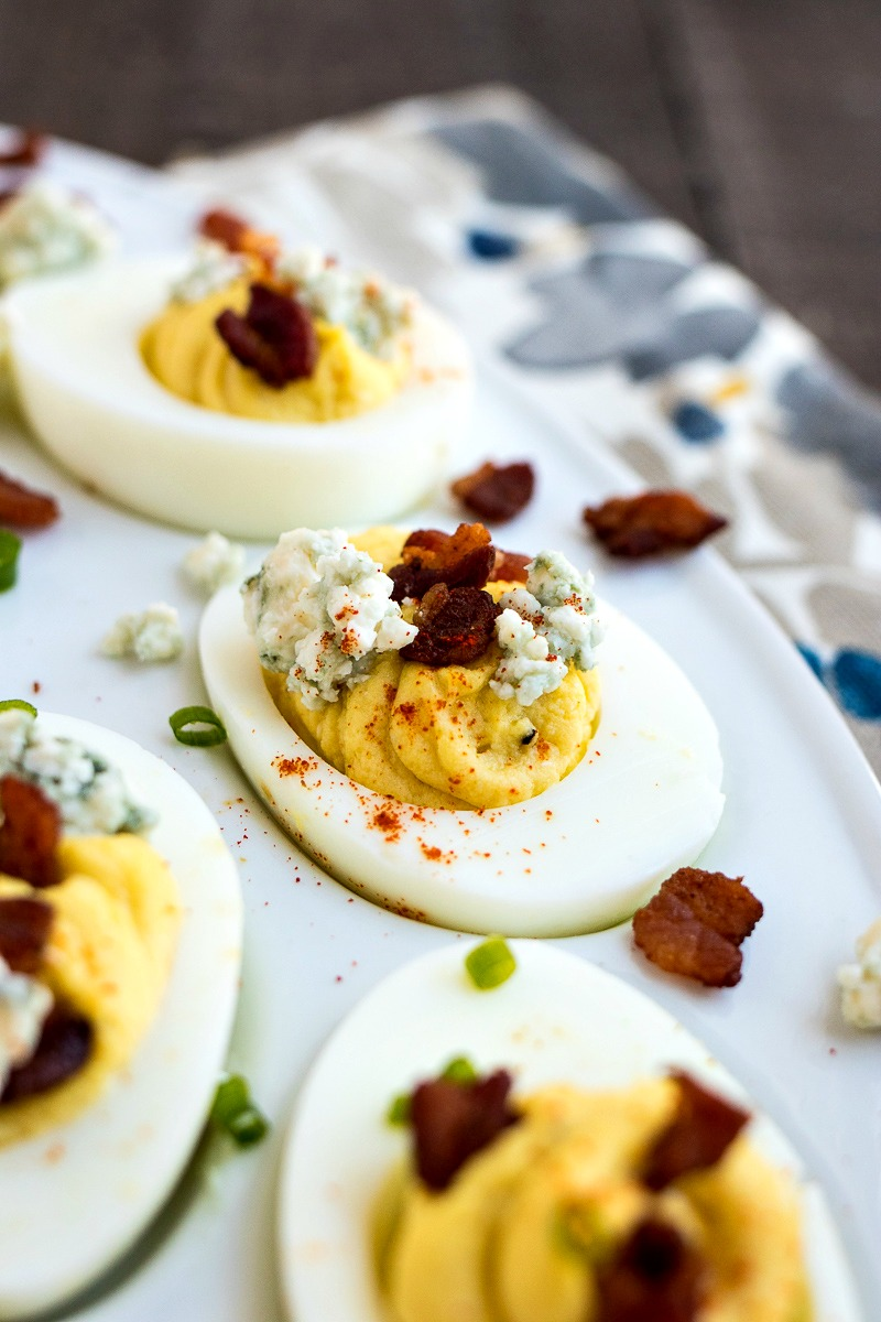 Closeup view of an Bacon & Blue Cheese Deviled Egg