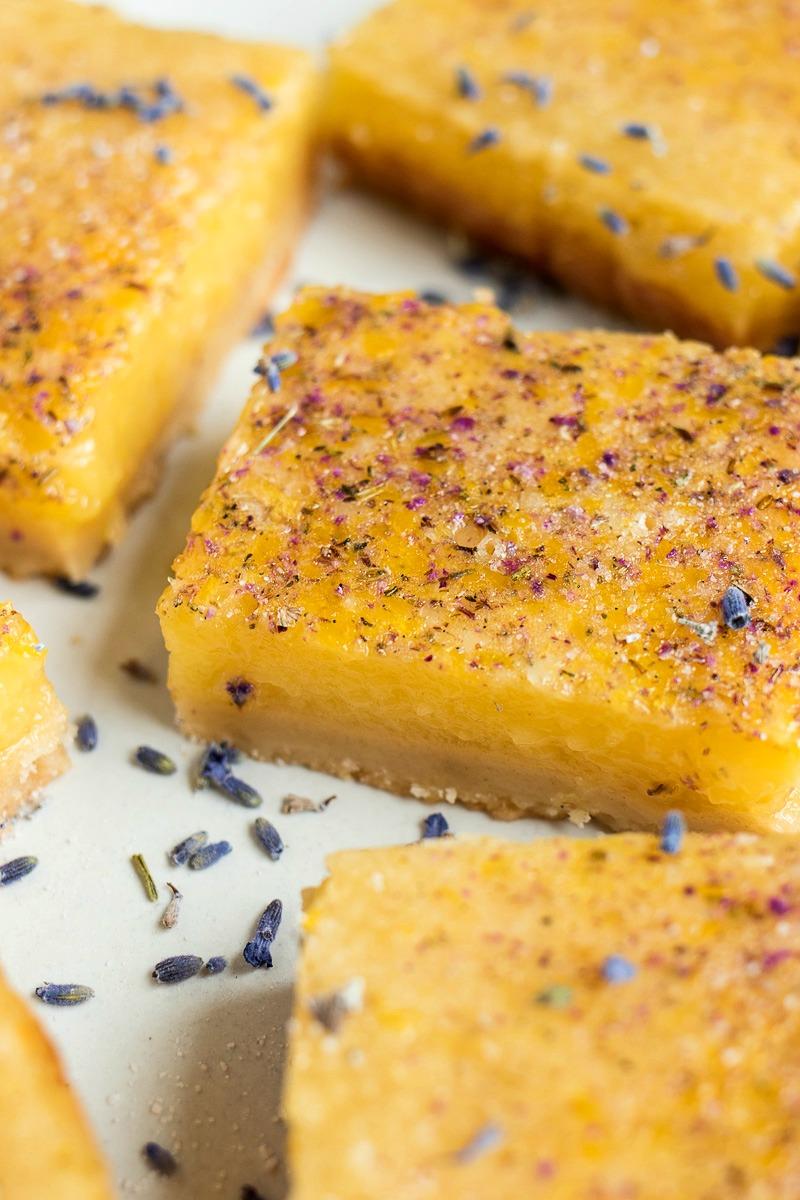 Yellow Lemon Bars, With Lavender Vanilla Sugar On Top.