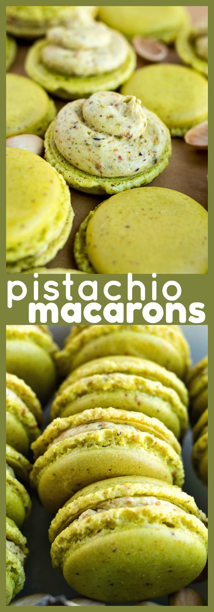 Pistachio Macarons photo collage