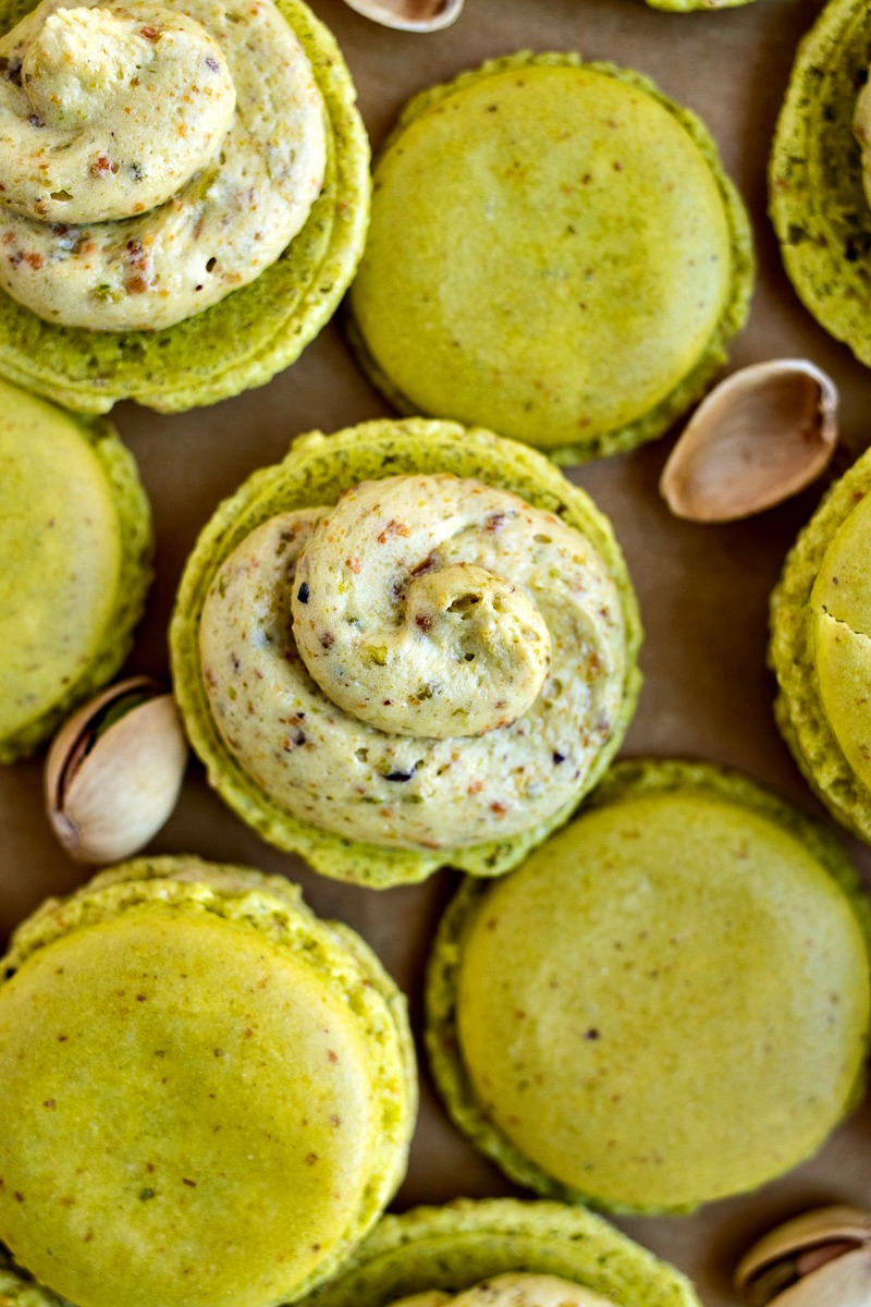Pistachio Macarons before being topped showing the pistachio filling
