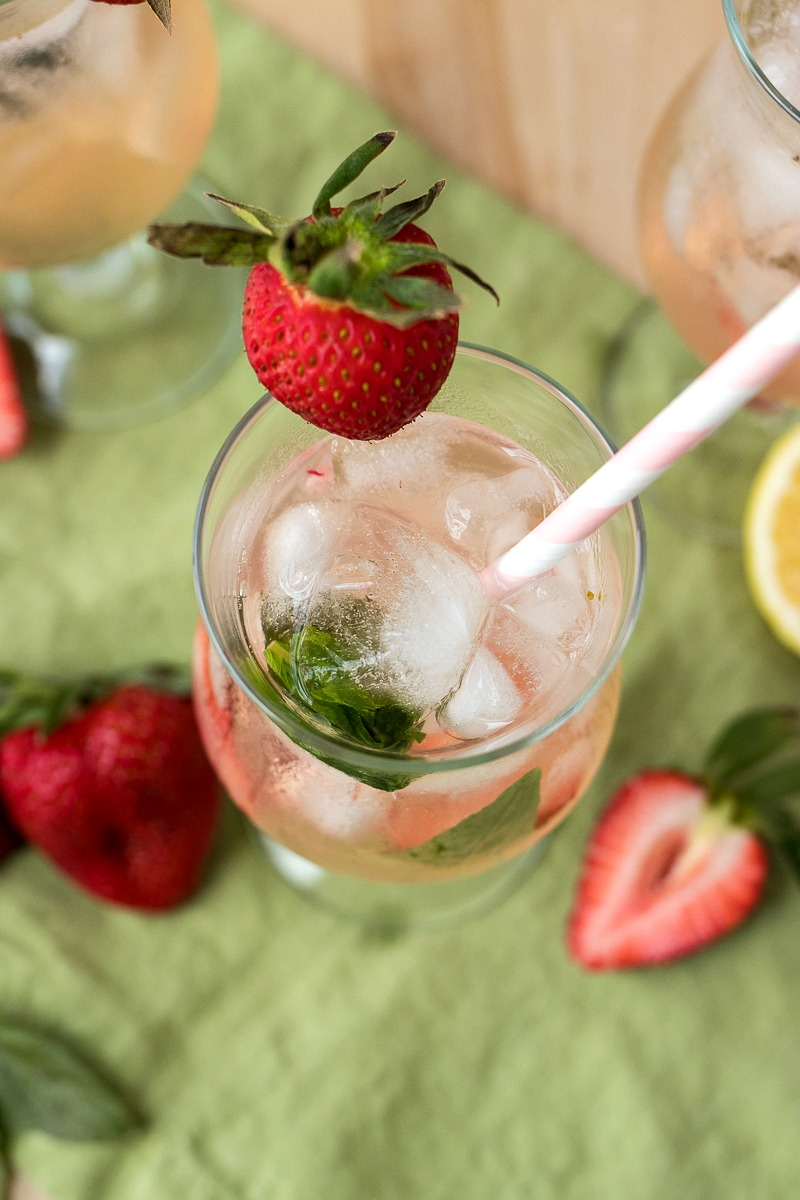 Top view of a glass of Strawberry Basil Vodka Punch