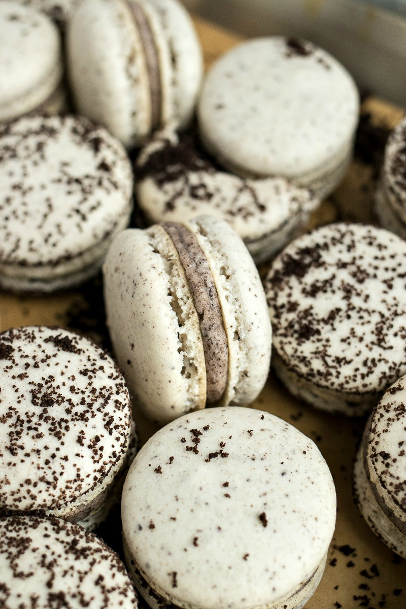 Cookies & Cream Macaron dusted with chocolate cookie crumbs
