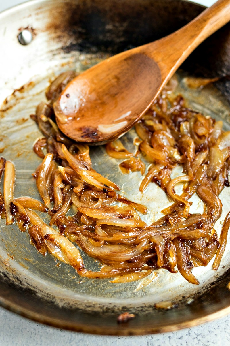Caramelizing the onions in a pan